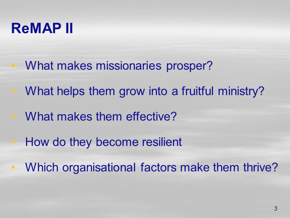 3 ReMAP II What makes missionaries prosper. What helps them grow into a fruitful ministry.