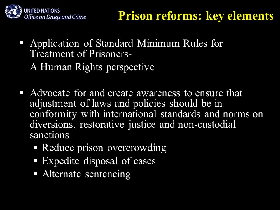Prison reforms: key elements  Application of Standard Minimum Rules for Treatment of Prisoners- A Human Rights perspective  Advocate for and create awareness to ensure that adjustment of laws and policies should be in conformity with international standards and norms on diversions, restorative justice and non-custodial sanctions  Reduce prison overcrowding  Expedite disposal of cases  Alternate sentencing