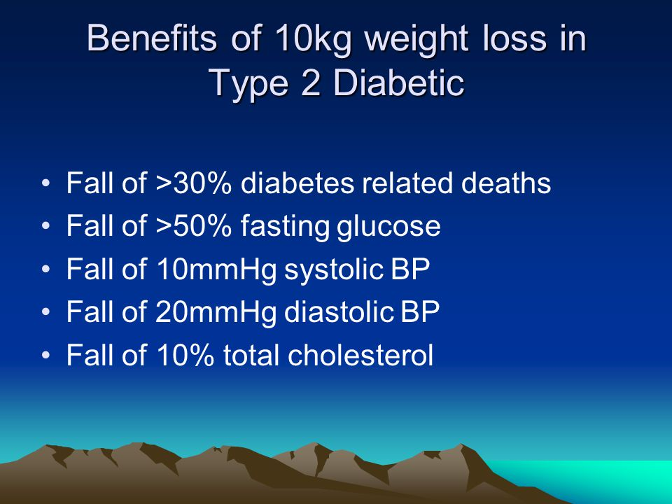 Benefits of 10kg weight loss in Type 2 Diabetic Fall of >30% diabetes related deaths Fall of >50% fasting glucose Fall of 10mmHg systolic BP Fall of 20mmHg diastolic BP Fall of 10% total cholesterol