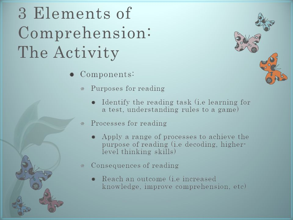 3 Elements of Comprehension: The Activity