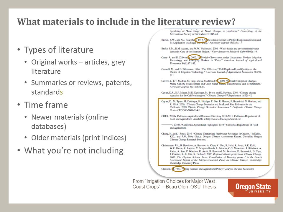 What materials to include in the literature review.