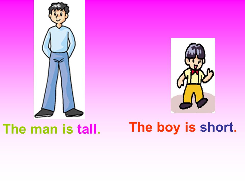 The man is tall. The boy is short.