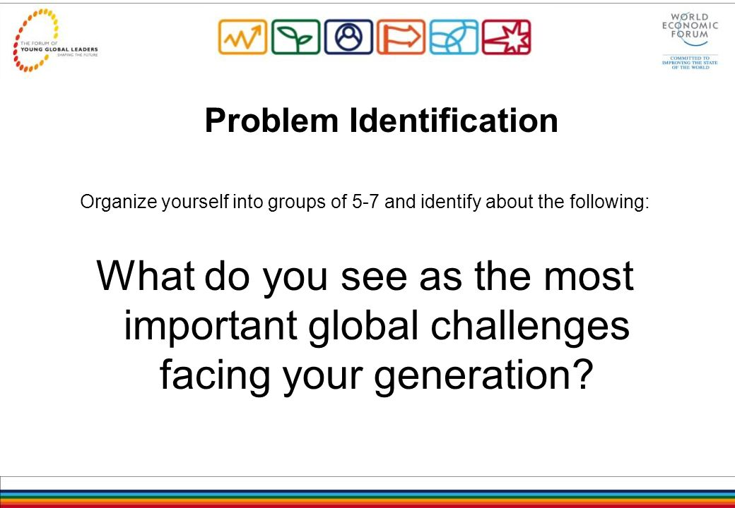Problem Identification Organize yourself into groups of 5-7 and identify about the following: What do you see as the most important global challenges facing your generation