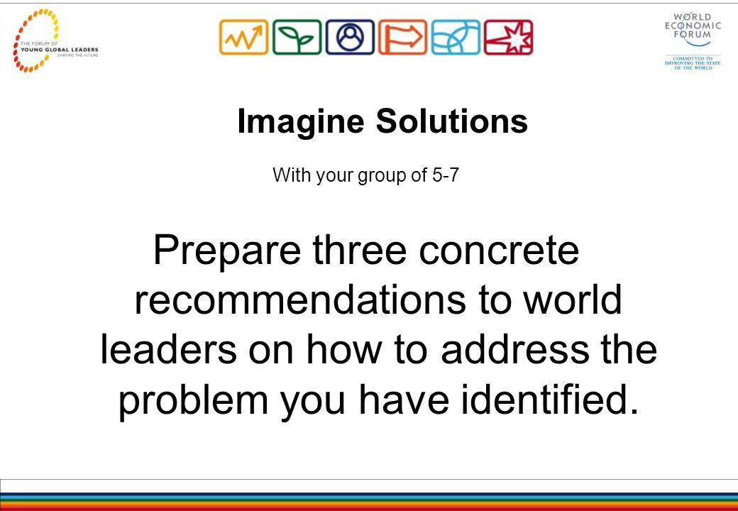 Imagine Solutions With your group of 5-7 Prepare three concrete recommendations to world leaders on how to address the problem you have identified.