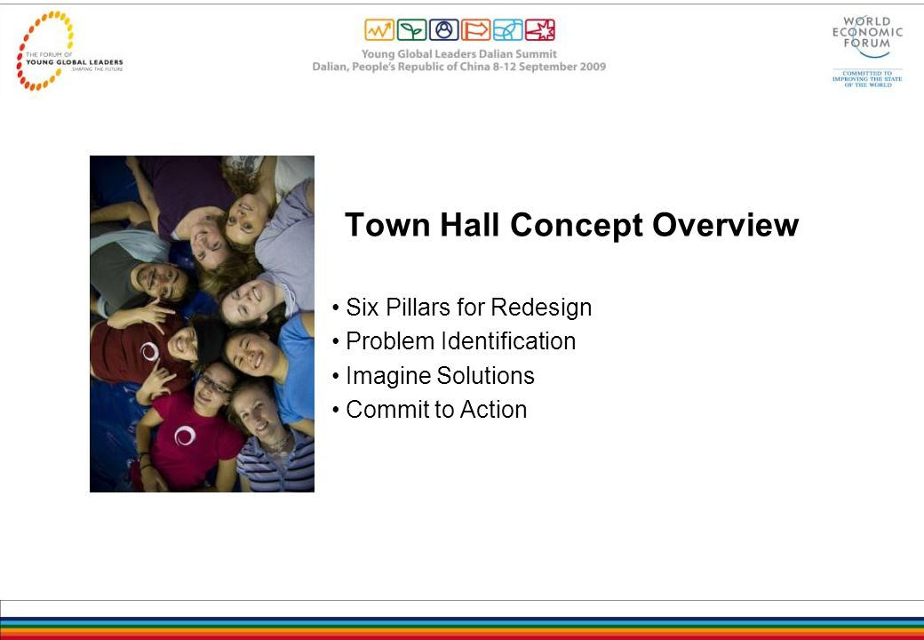 Town Hall Concept Overview Six Pillars for Redesign Problem Identification Imagine Solutions Commit to Action