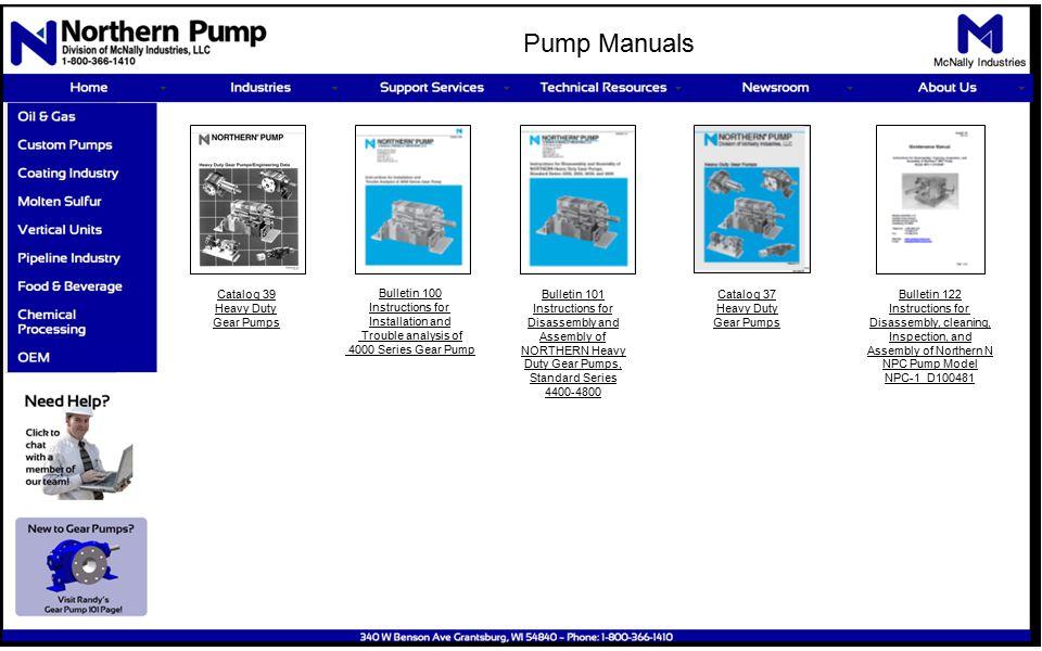 Catalog 39 Heavy Duty Gear Pumps Bulletin 100 Instructions For