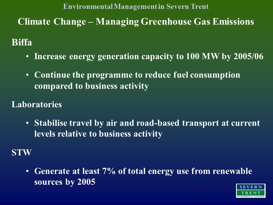 Climate Change – Managing Greenhouse Gas Emissions Biffa Increase energy generation capacity to 100 MW by 2005/06 Continue the programme to reduce fuel consumption compared to business activity Laboratories Stabilise travel by air and road-based transport at current levels relative to business activity STW Generate at least 7% of total energy use from renewable sources by 2005