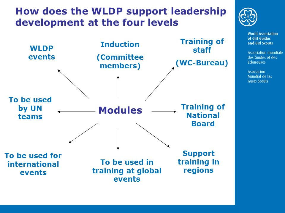 How does the WLDP support leadership development at the four levels Modules Training of staff (WC-Bureau) Training of National Board Support training in regions To be used in training at global events To be used for international events To be used by UN teams WLDP events Induction (Committee members)