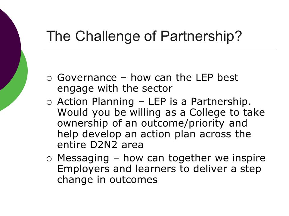 The Challenge of Partnership.