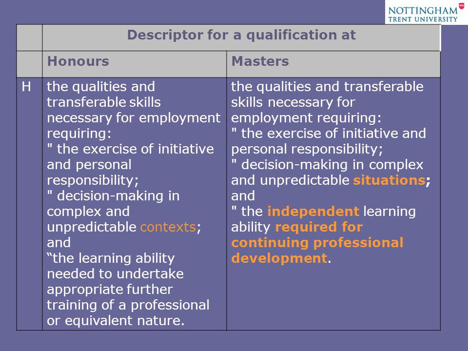 Hthe qualities and transferable skills necessary for employment requiring: the exercise of initiative and personal responsibility; decision-making in complex and unpredictable contexts; and the learning ability needed to undertake appropriate further training of a professional or equivalent nature.