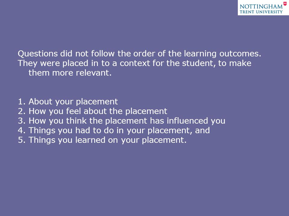 Questions did not follow the order of the learning outcomes.