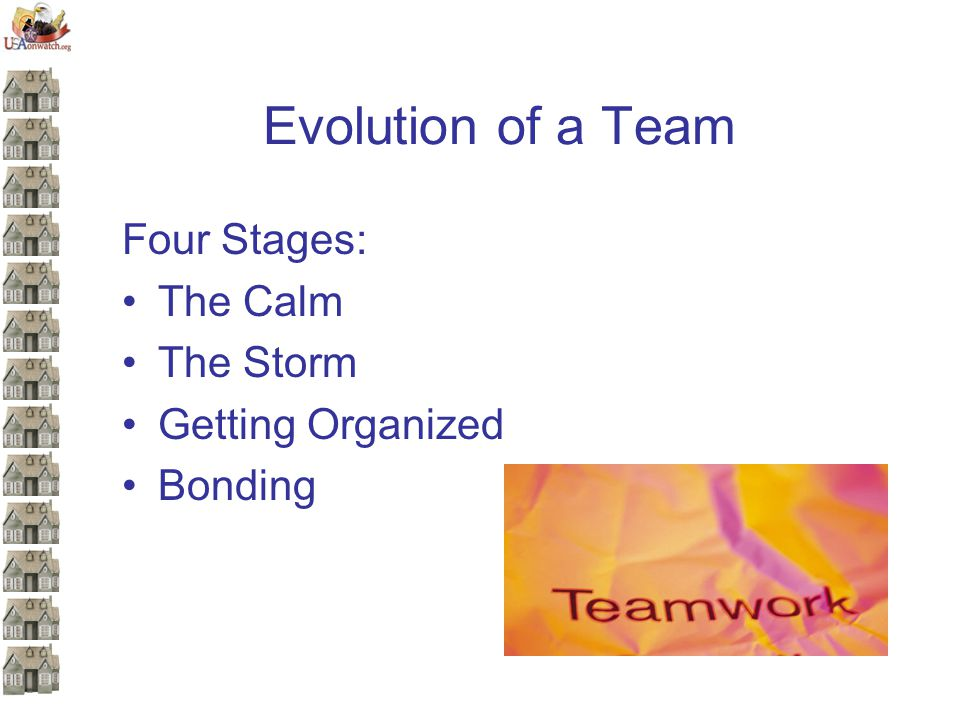 Evolution of a Team Four Stages: The Calm The Storm Getting Organized Bonding