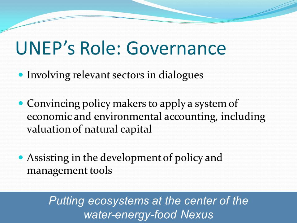 UNEP's Role: Governance Involving relevant sectors in dialogues Convincing policy makers to apply a system of economic and environmental accounting, including valuation of natural capital Assisting in the development of policy and management tools Putting ecosystems at the center of the water-energy-food Nexus