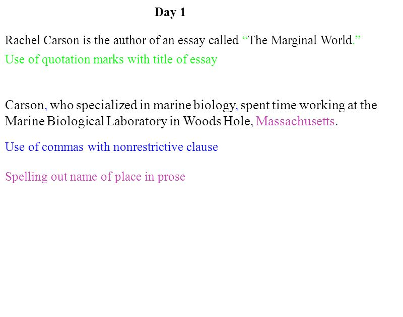 Cheap Essay Papers Rachel Carson Is The Author Of An Essay Called The Marginal World Carson  Who Easy Essay Topics For High School Students also Computer Science Essay Day  Rachel Carson Is The Author Of An Essay Called The Marginal  How Do I Write A Thesis Statement For An Essay