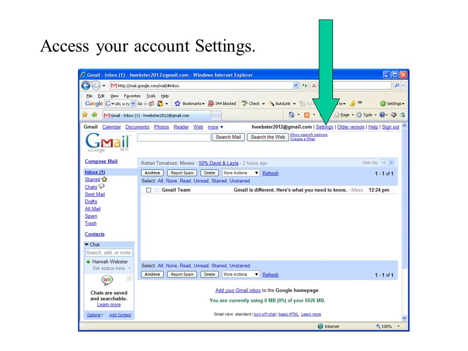 Access your account Settings.