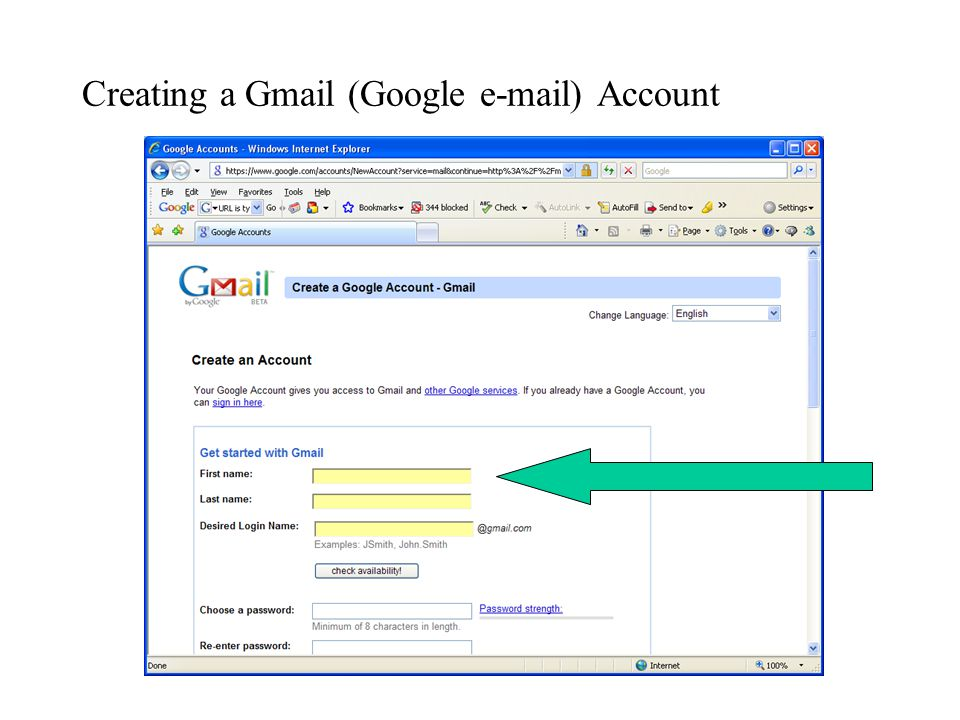 Creating a Gmail (Google  ) Account