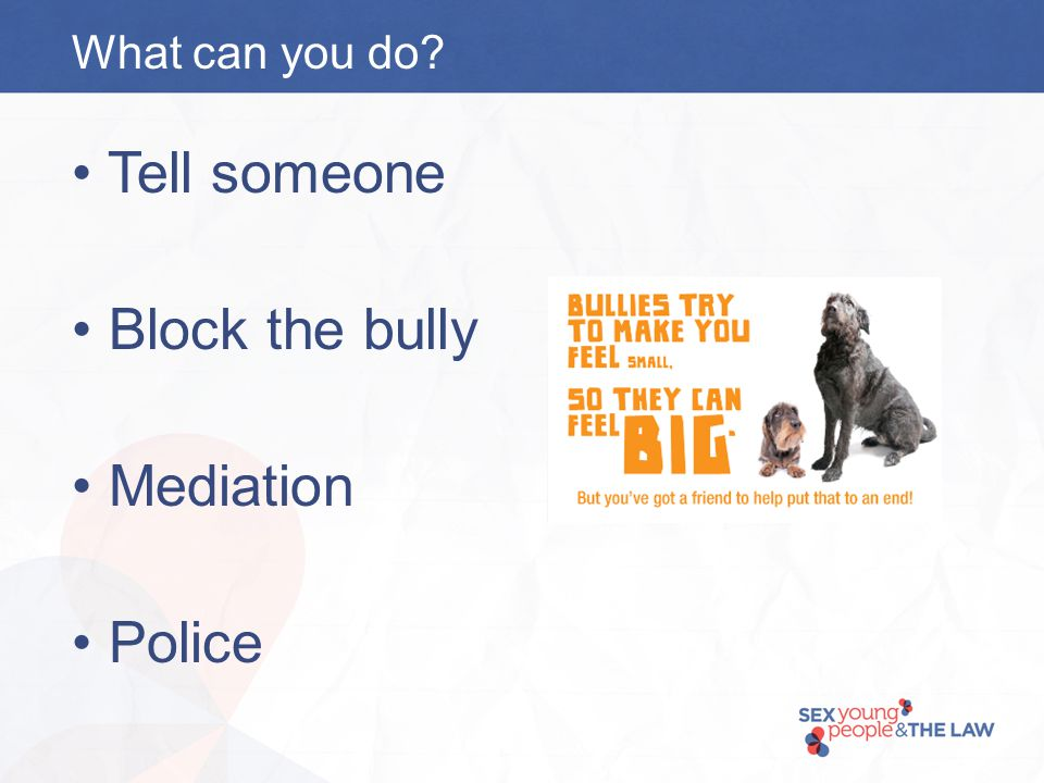 What can you do Tell someone Block the bully Mediation Police