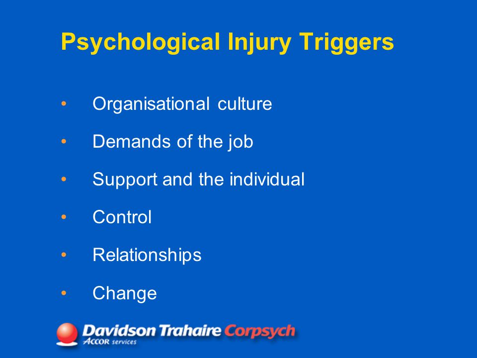 Psychological Injury Triggers Organisational culture Demands of the job Support and the individual Control Relationships Change