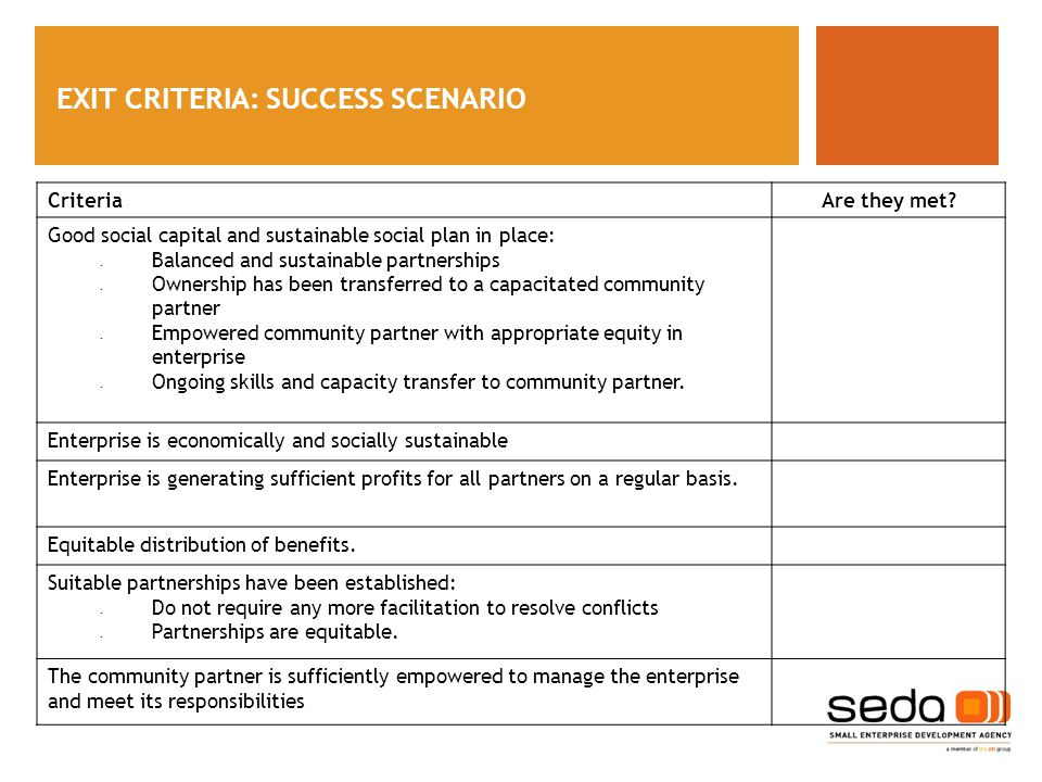 EXIT CRITERIA: SUCCESS SCENARIO CriteriaAre they met.