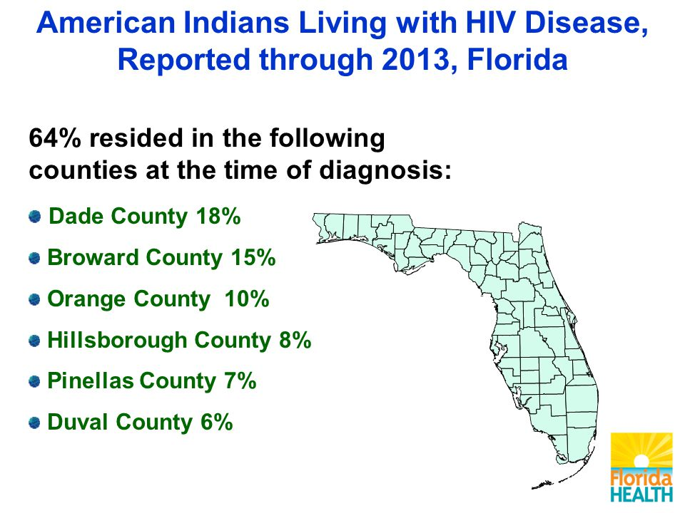 64% resided in the following counties at the time of diagnosis: Dade County 18% Broward County 15% Orange County 10% Hillsborough County 8% Pinellas County 7% Duval County 6% American Indians Living with HIV Disease, Reported through 2013, Florida