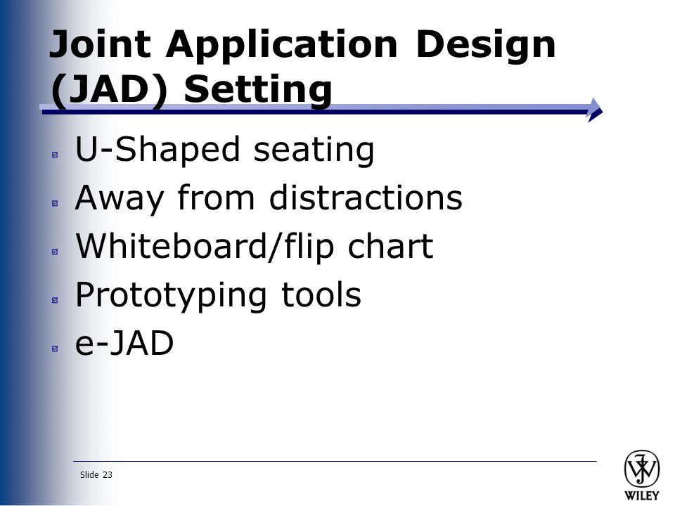 Slide 23 Joint Application Design (JAD) Setting U-Shaped seating Away from distractions Whiteboard/flip chart Prototyping tools e-JAD