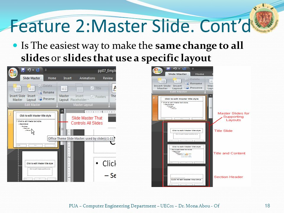 Feature 2:Master Slide.