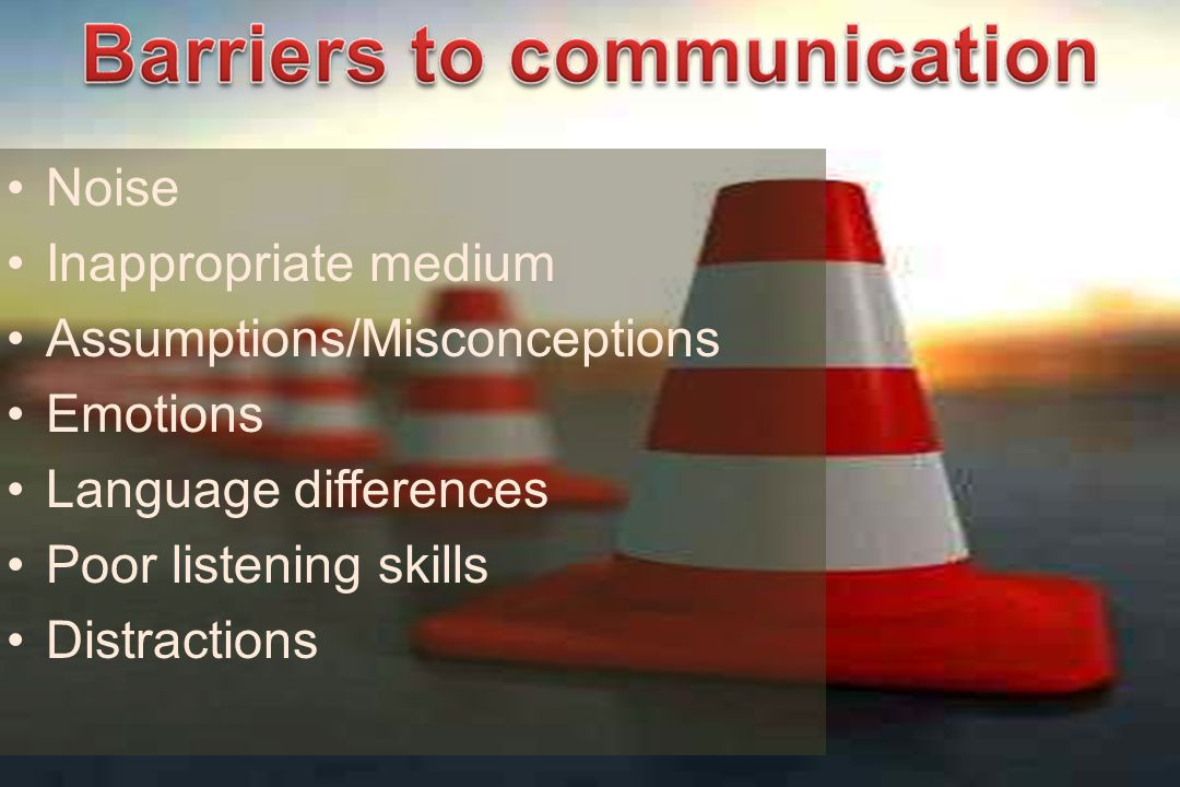 Noise Inappropriate medium Assumptions/Misconceptions Emotions Language differences Poor listening skills Distractions