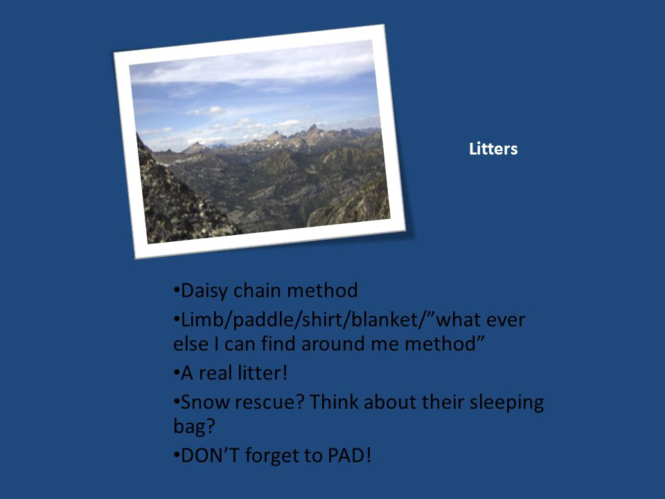 Litters Daisy chain method Limb/paddle/shirt/blanket/ what ever else I can find around me method A real litter.