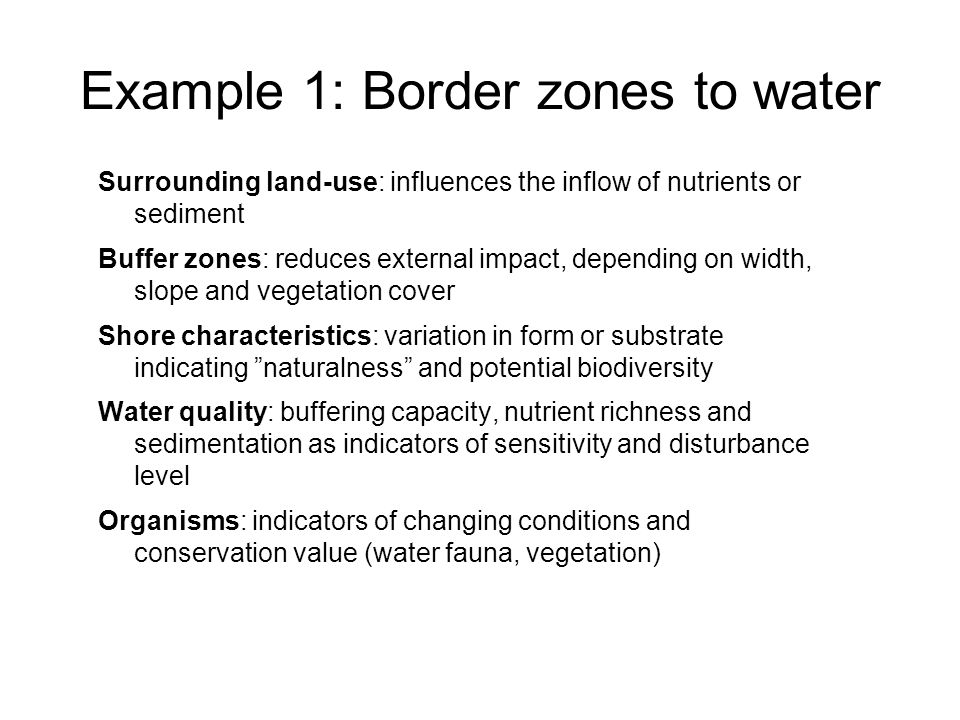 Example 1: Border zones to water Surrounding land-use: influences the inflow of nutrients or sediment Buffer zones: reduces external impact, depending on width, slope and vegetation cover Shore characteristics: variation in form or substrate indicating naturalness and potential biodiversity Water quality: buffering capacity, nutrient richness and sedimentation as indicators of sensitivity and disturbance level Organisms: indicators of changing conditions and conservation value (water fauna, vegetation)