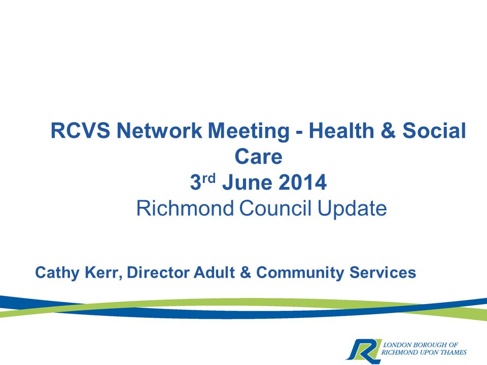 RCVS Network Meeting - Health & Social Care 3 rd June 2014 Richmond Council Update Cathy Kerr, Director Adult & Community Services