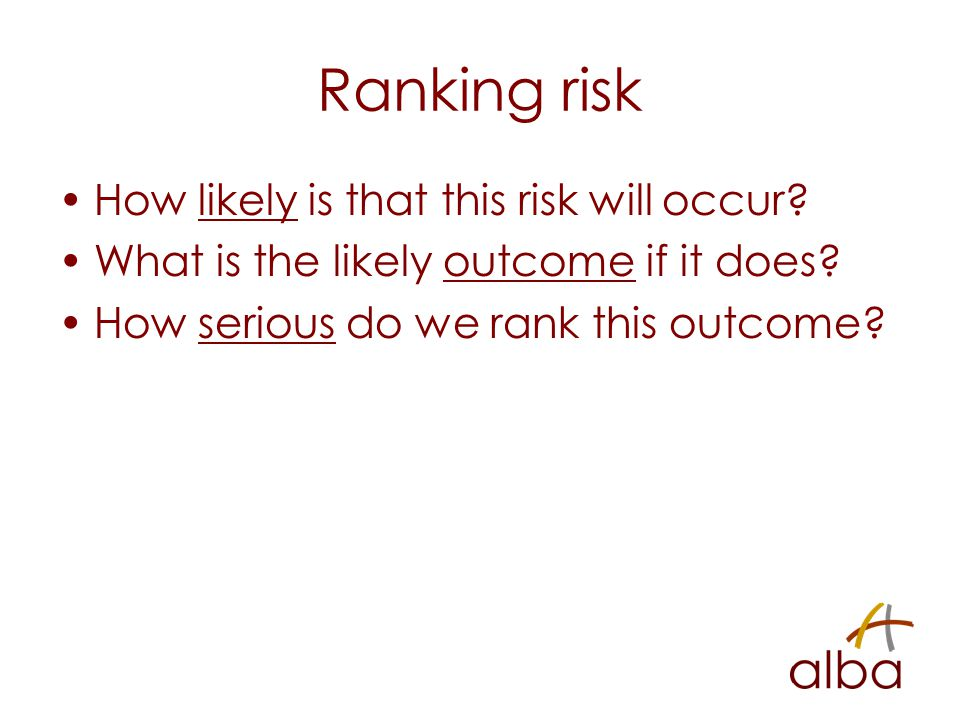 Ranking risk How likely is that this risk will occur.