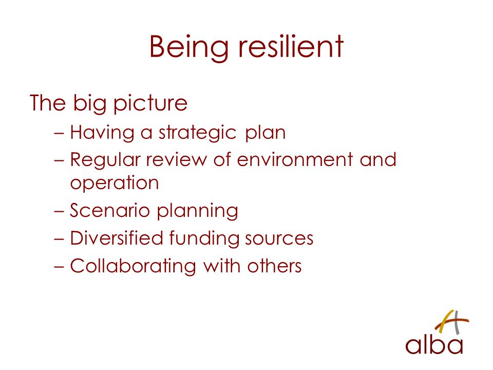 Being resilient The big picture –Having a strategic plan –Regular review of environment and operation –Scenario planning –Diversified funding sources –Collaborating with others