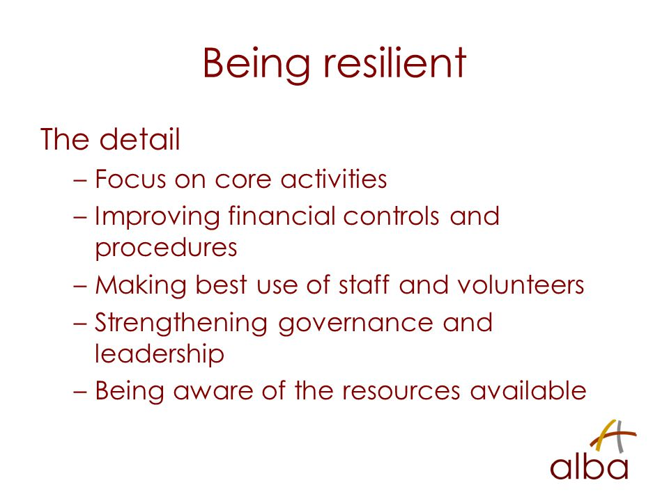 Being resilient The detail –Focus on core activities –Improving financial controls and procedures –Making best use of staff and volunteers –Strengthening governance and leadership –Being aware of the resources available