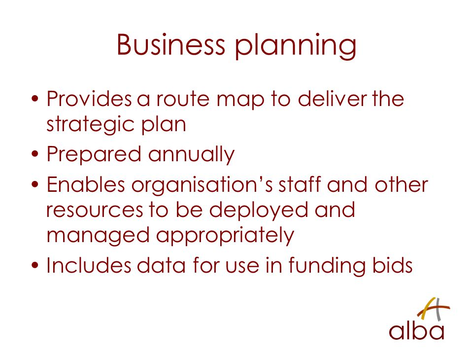 Business planning Provides a route map to deliver the strategic plan Prepared annually Enables organisation's staff and other resources to be deployed and managed appropriately Includes data for use in funding bids