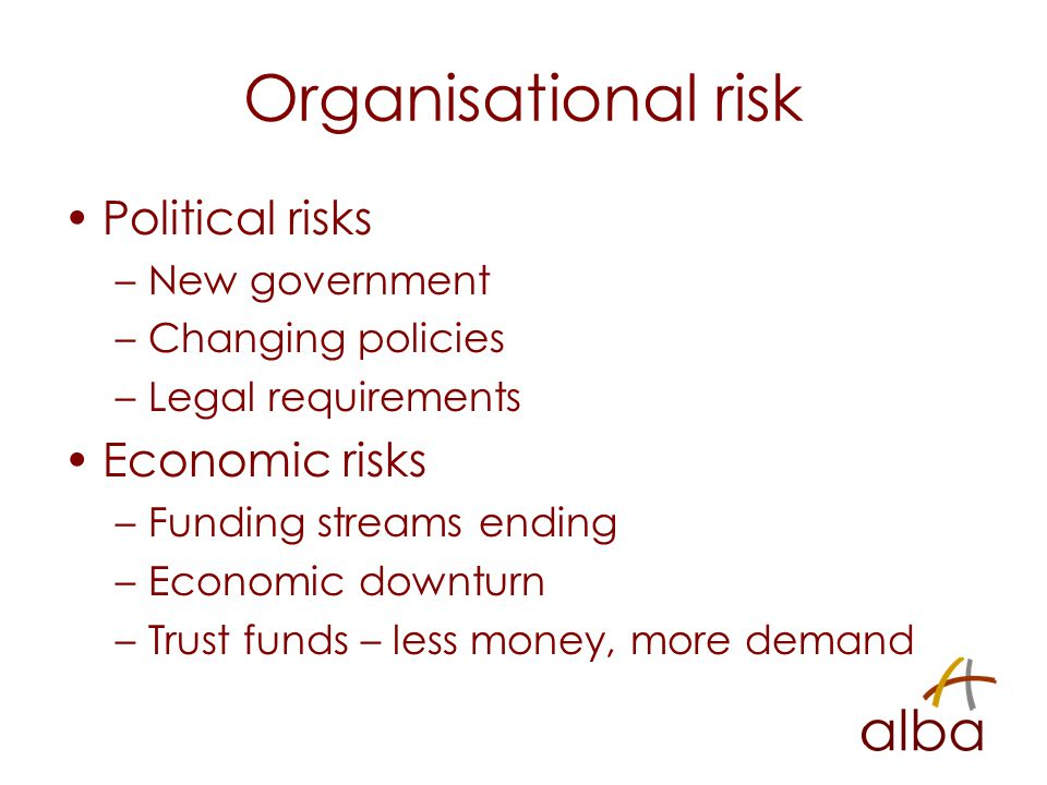 Organisational risk Political risks –New government –Changing policies –Legal requirements Economic risks –Funding streams ending –Economic downturn –Trust funds – less money, more demand