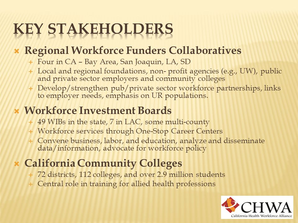  Regional Workforce Funders Collaboratives  Four in CA – Bay Area, San Joaquin, LA, SD  Local and regional foundations, non- profit agencies (e.g., UW), public and private sector employers and community colleges  Develop/strengthen pub/private sector workforce partnerships, links to employer needs, emphasis on UR populations.