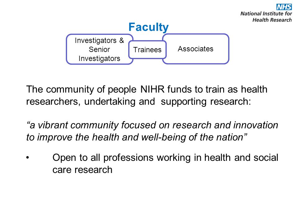 Investigators & Senior Investigators Associates Faculty Trainees The community of people NIHR funds to train as health researchers, undertaking and supporting research: a vibrant community focused on research and innovation to improve the health and well-being of the nation Open to all professions working in health and social care research