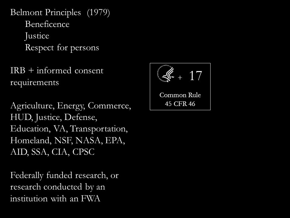 + Common Rule 45 CFR Belmont Principles (1979) Beneficence Justice Respect for persons IRB + informed consent requirements Agriculture, Energy, Commerce, HUD, Justice, Defense, Education, VA, Transportation, Homeland, NSF, NASA, EPA, AID, SSA, CIA, CPSC Federally funded research, or research conducted by an institution with an FWA