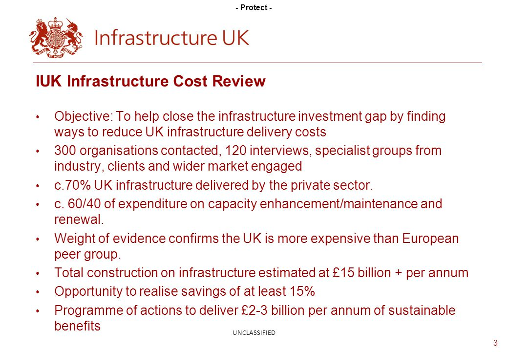 - Protect - Objective: To help close the infrastructure investment gap by finding ways to reduce UK infrastructure delivery costs 300 organisations contacted, 120 interviews, specialist groups from industry, clients and wider market engaged c.70% UK infrastructure delivered by the private sector.