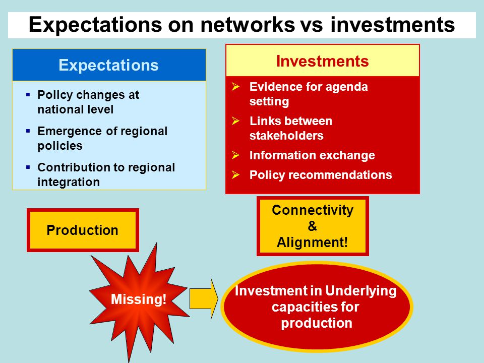Expectations  Policy changes at national level  Emergence of regional policies  Contribution to regional integration Investments  Evidence for agenda setting  Links between stakeholders  Information exchange  Policy recommendations Expectations on networks vs investments Missing.