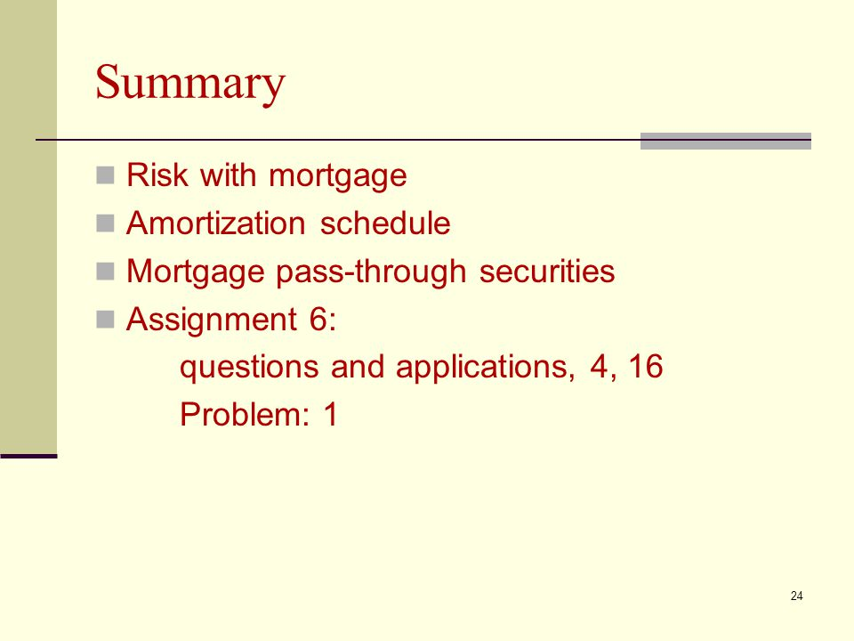 Summary Risk with mortgage Amortization schedule Mortgage pass-through securities Assignment 6: questions and applications, 4, 16 Problem: 1 24