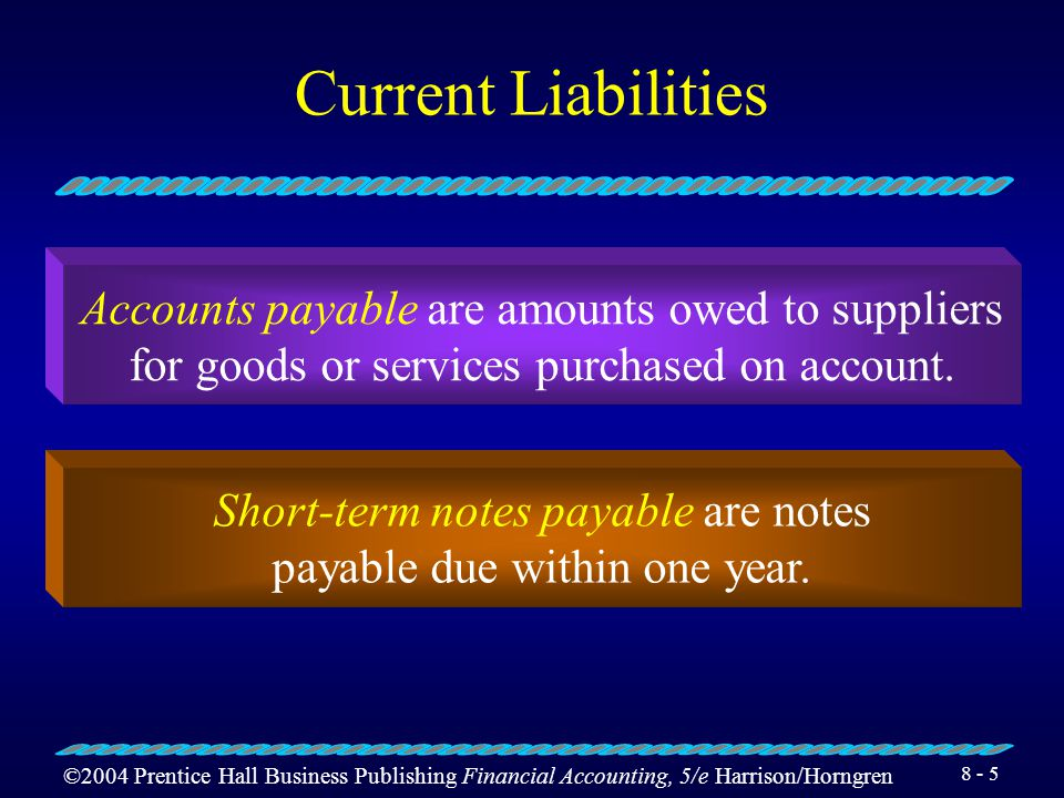 ©2004 Prentice Hall Business Publishing Financial Accounting, 5/e Harrison/Horngren Current Liabilities Accounts payable Short-term notes payable Sales tax payable Current portion of long-term debt Accrued expenses Payroll liabilities Unearned revenues