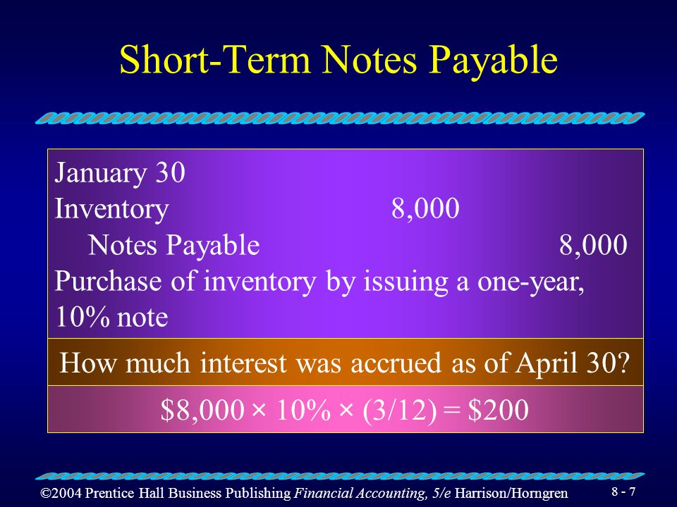 ©2004 Prentice Hall Business Publishing Financial Accounting, 5/e Harrison/Horngren Short-Term Notes Payable In addition to recording the note payable, the business must also pay interest expense.