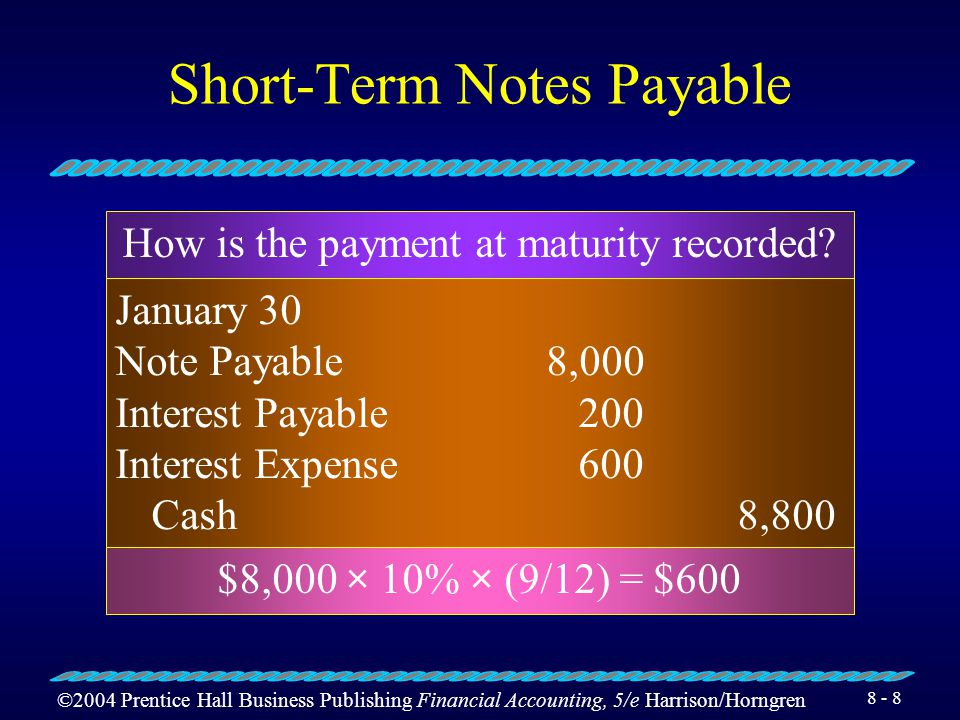 ©2004 Prentice Hall Business Publishing Financial Accounting, 5/e Harrison/Horngren Short-Term Notes Payable January 30 Inventory8,000 Notes Payable8,000 Purchase of inventory by issuing a one-year, 10% note How much interest was accrued as of April 30.