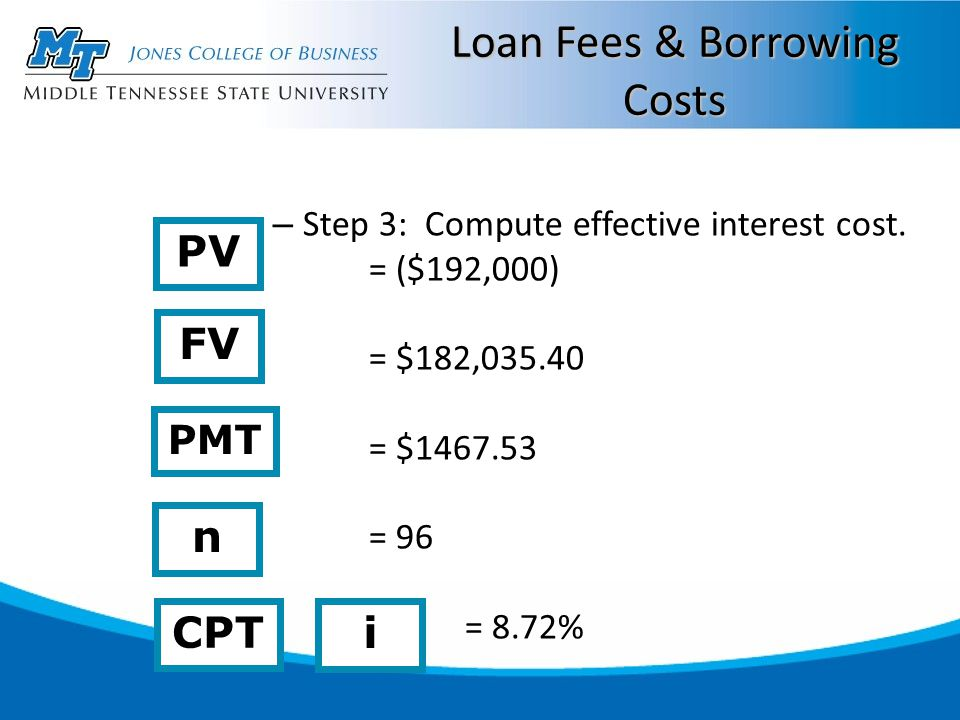 Loan Fees & Borrowing Costs – Step 3: Compute effective interest cost.