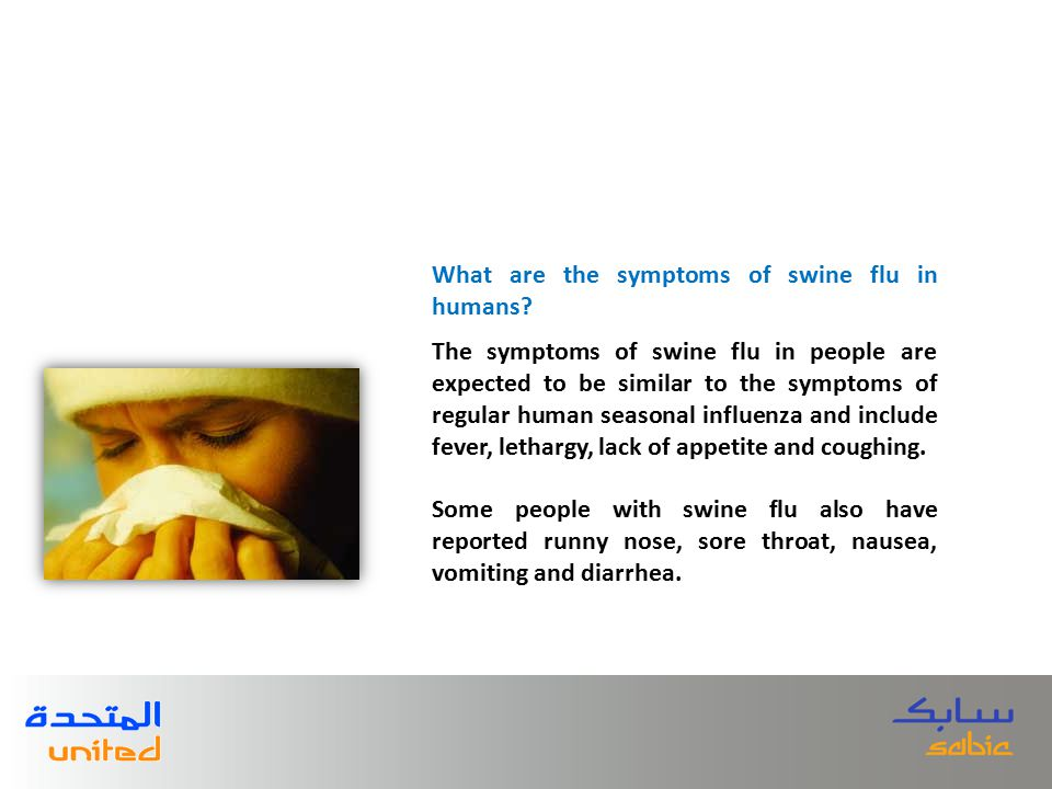 The symptoms of swine flu in people are expected to be similar to the symptoms of regular human seasonal influenza and include fever, lethargy, lack of appetite and coughing.