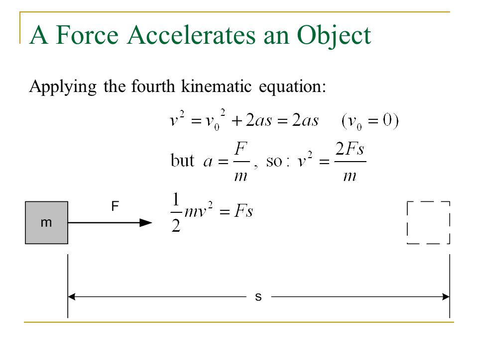 A Force Accelerates an Object Applying the fourth kinematic equation: