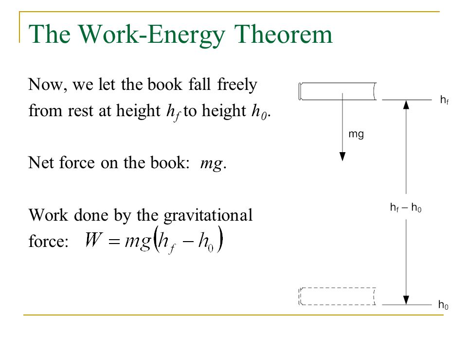 The Work-Energy Theorem Now, we let the book fall freely from rest at height h f to height h 0.