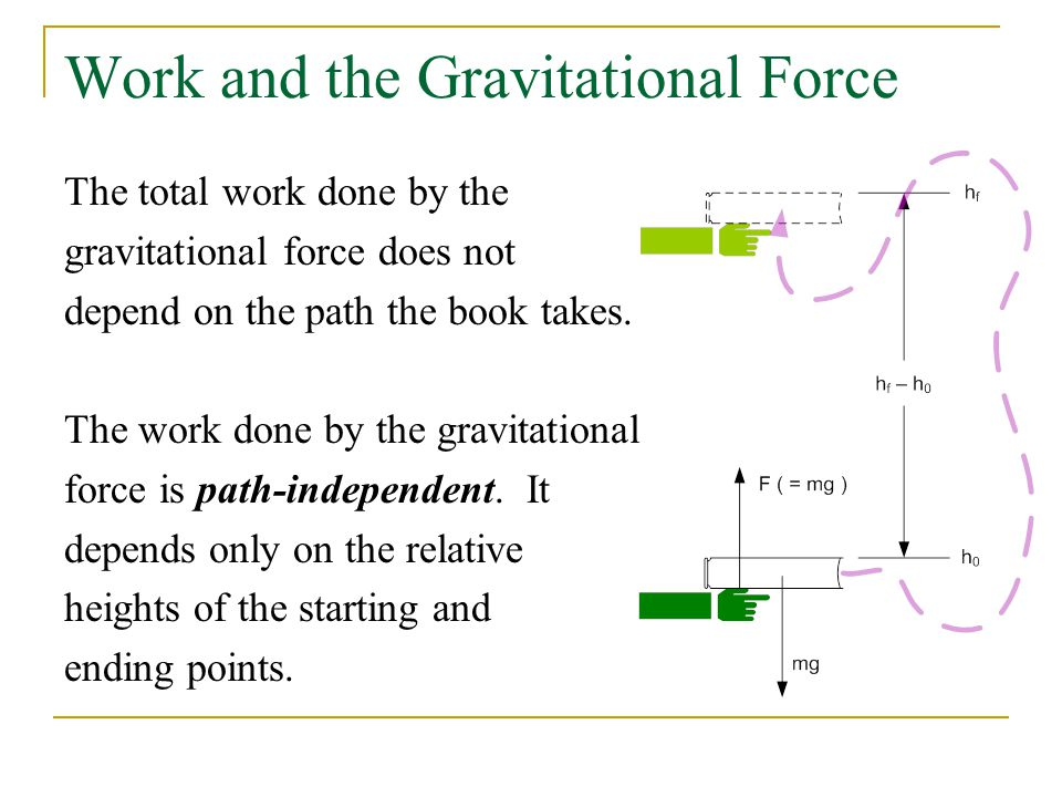 Work and the Gravitational Force The total work done by the gravitational force does not depend on the path the book takes.