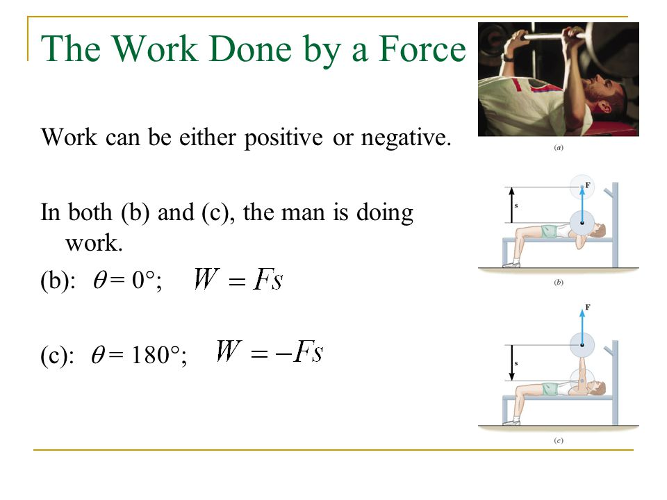 The Work Done by a Force Work can be either positive or negative.